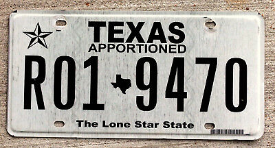 """So called """"Classic"""" Black on White Texas APPORTIONED License Plate"""