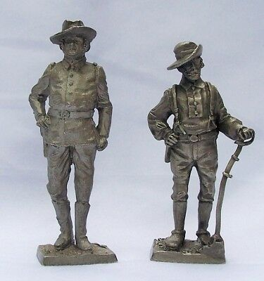 2 Pewter Vintage Army Calvary Soldier Figurines Franklin Mint