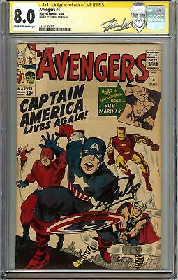 Avengers #4 CGC 8.0 VF Signed STAN LEE Captain America 1st Silver Age appearance