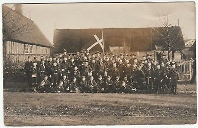 RARE Real Photo - Boy Scouts 1920 Denmark - Schleswig RPPC Group in Uniform Flag