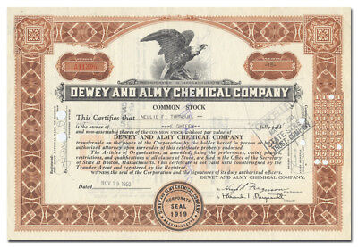 Dewey and Almy Chemical Company Stock Certificate (Massachusetts)