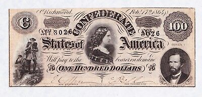 Civil War Confederate States of America One Hundred Dollars Lucy Pickens