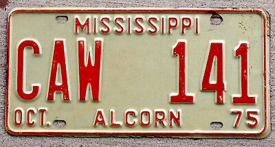 1975 Red on White Mississippi License Plate ALCORN