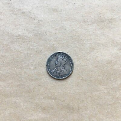 1913 British India George V Two Anna East India Company Silver Coin
