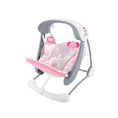 Fisher Price Deluxe Take Along 2 in 1 Soothing Baby Swing & Seat, Pink (Used)