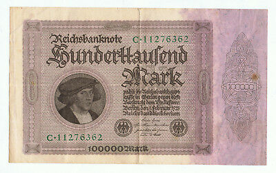 1923 GERMAN 100000 MARK REICHSBANKNOTE MASSIVE 19.5cm x 11.5cm (A)