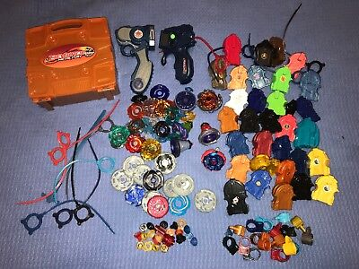 Lot Of Beyblades Spinners Launchers Ripcords Parts Plastic & Metal Vintage