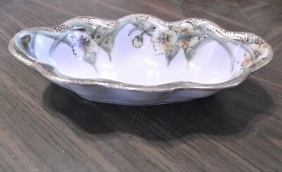 Beautiful Vintage hand painted Nippon relish or nut dish gold gilded floral EUC