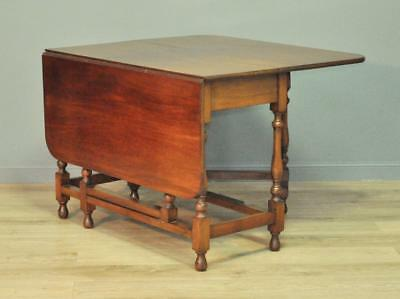 Attractive Large Antique Mahogany Turned Gate Leg Drop Leaf Dining Table