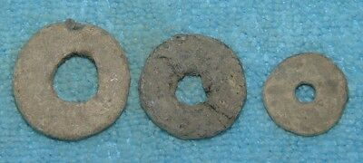 LOT OF 3 ANCIENT ROMAN  LEAD SPINDLE WHORL  1 - 3rd CENTURY AD Ref.994