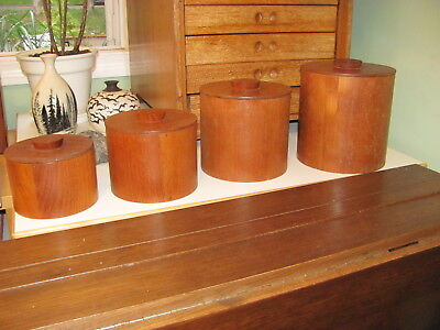 4 Teak Nesting Canisters with Liners Danish Modern Made in Finland Mid Century