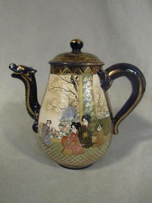 Antique Japanese Satsuma Cobalt Dragon Teapot - Geishas & Flowers & Gilding