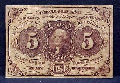 1862 Civil War Five Cents 1st Issue Fractional Currency Thomas Jefferson