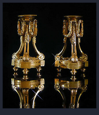 A Pair Of 18th Cen. French Louis XVI Ormolu Tripod Candle Holders, 14,0 cm H.