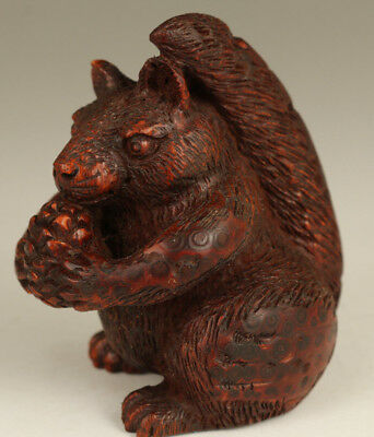 Big Rare chinese Old bamboo hand carving squirrel pinecone statue figure