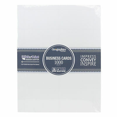 Geographics 46102 1000ct Matte White Professional Business Cards 10 Per Sheet