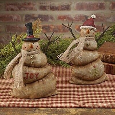 Primitive Snowman Christmas Winter Joyful SET 2 Resin Melting Country Rustic 7""