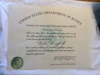 1971 Bureau Of Narcotics And Dangerous Drugs Training Certificate