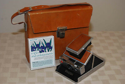 Polaroid SX-70 Folding SLR Instant Camera with Leather Case and Film