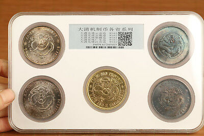 5piece China qing dynasty  machining copper plate-silver+ plate-gold dragon coin