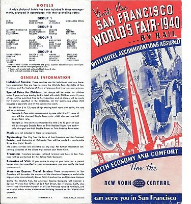 1939-40 Ggie  New York Central Rr Brochure  6 Page Fold Out