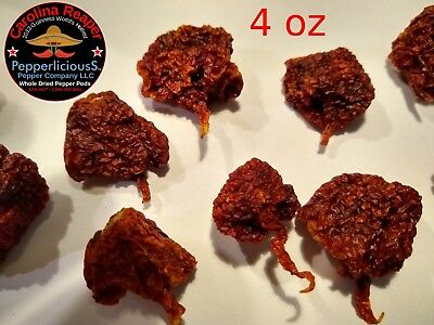 4 oz / 113 g DRIED CAROLINA REAPER Pods WORLDS HOTTEST PEPPER Super Hot Quality