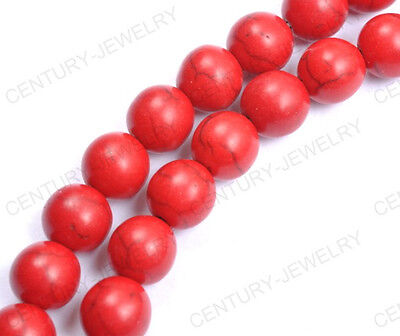 NP1774 50pcs Red Round Turquoise Gemstone Spacer Loose Charms Beads 6MM