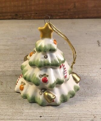 Cute Vintage Ceramic Decorated Christmas Tree Shaped Small Bell