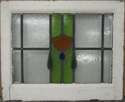 "OLD ENGLISH LEADED STAINED GLASS WINDOW Pretty Geometric Drops 21.75"" x 17.25"""