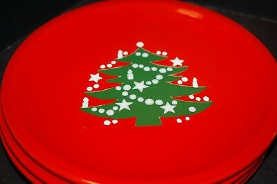 3 Waechtersbach W. Germany Red Christmas Tree Dinner Plates