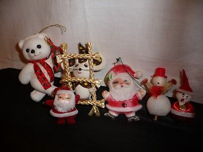 VTG Lot Felt Flocked Plastic Mouse Santa Bear  X-MAS Ornaments & Decorations