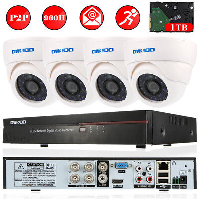 OWSOO 4CH Full 960H//D1 DVR 1TB HDD 4*800TVL Indoor Dome Camera CCTV Security Kit