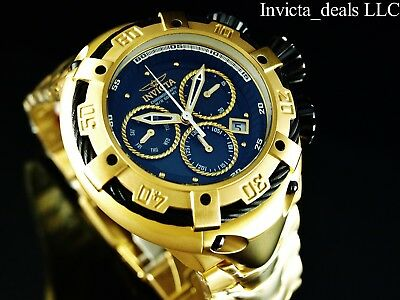 Invicta 52mm THUNDERBOLT Swiss Chronograph 18K Gold Plated Black Dial SS Watch
