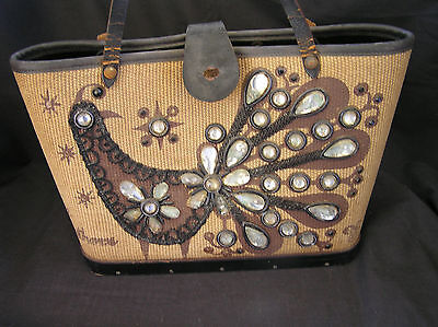 Enid Collins FINE FEATHERS Bucket Bag, Wood Base, Leather Trim, AS IS CONDITION