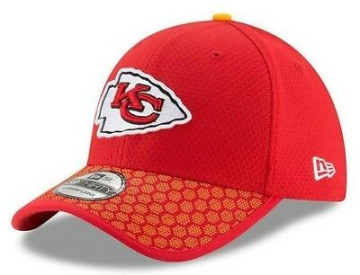 2eab8965256 New Era Kansas City Chiefs Hat Cap 39Thirty Flex Official Sideline DryEra  Red