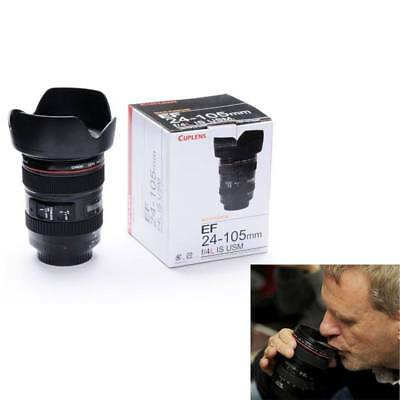 Durable Camera Lens Shaped As Canon EF 24-105mm Coffee Mug Cup w/ Drinking Lid