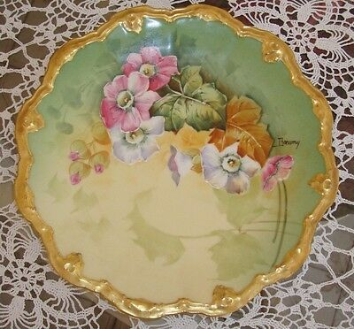 """Limoges Hand Painted Signed """"baumy""""  Pink And White Flowers Plate, 8 1/2"""""""