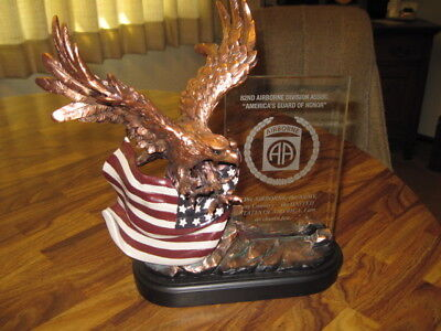 """82nd Airborne """"Eagle and Flag"""" statue,, Great Paratrooper Gift"""