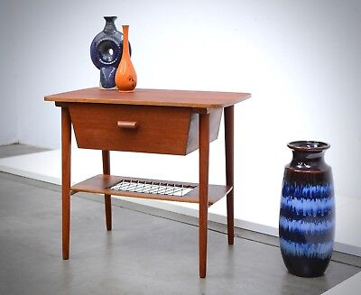 50s Danish Modern TEAK Storage Side Table Entry Mid Century Vintage Mid Century