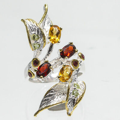 Handmade Jewelry SET Natural Garnet 925 Sterling Silver Ring Size 6.75/R48897