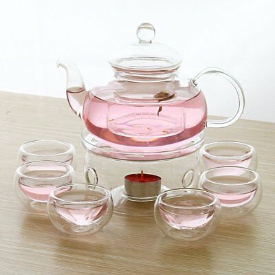 28 OZ Glass Filtering Tea Maker Teapot with a Warmer and 6 Tea Cups Set