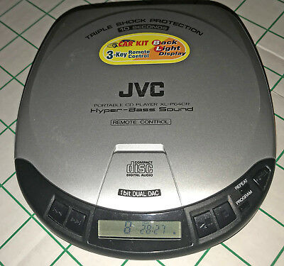 JVC XL-P64CR - CD Player Walkman TESTED ready for car adapter w/ free batteries!