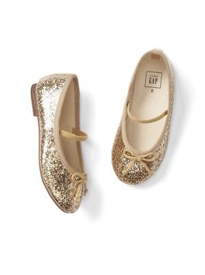 4f9a726c769a8 Gap Baby Girl Toddler Glitter Mary Janes Shoes Flats Gold Size US 7   EU 24