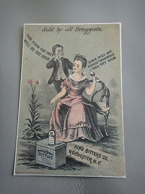 King Bitters Victorian Trade Card -Girl on Chair - Quack Medicine