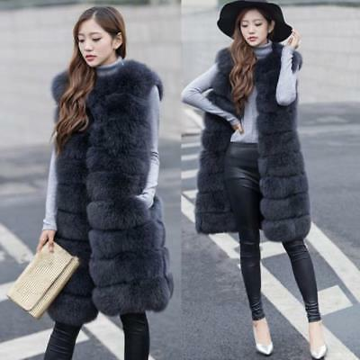 Ladies Winter Fox Fur Winter Warm Sleeveless Long Vest Coat Outwear Parkas US XL