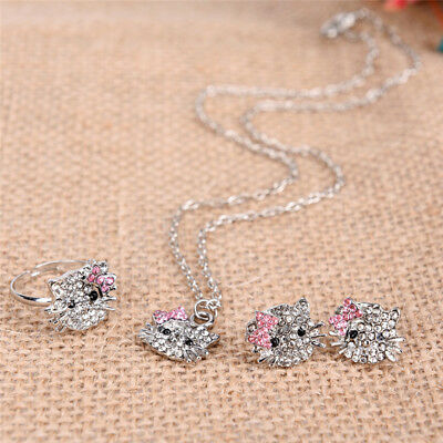 Crystal Cat Stud Necklace / Earrings / Ring Bowknot  For New Popular Girls GiftW