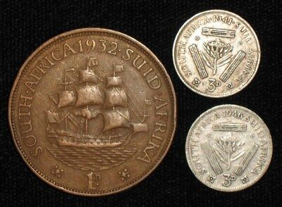 3 Coins from South Africa,  1932-1946.  No Reserve!!