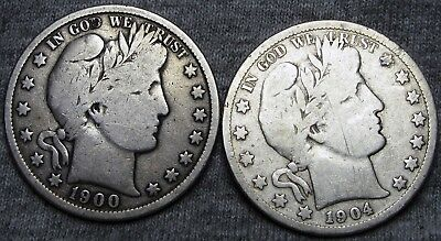 1900 + 1904-S Barber Half Dollars --- NICE LOT --- #U214