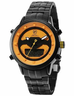 SHARK Men's LCD Quartz Day Date Display Alarm Yellow Dial Wrist Watch SH553