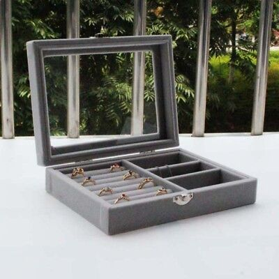 Glass Top Portable Velvet Jewelry Storage Organizer Earrings Ring Display Box